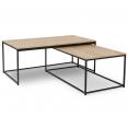 Table basse DETROIT design industriel gigogne X2 rectangle 113 ET 100 CM