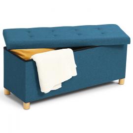 Banc coffre rangement 100 cm en tissu bleu canard