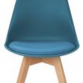 Lot de 4 chaises SARA bleu canard pour salle à manger