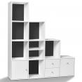 Meuble de rangement escalier 4 niveaux bois blanc + porte/tiroirs blancs fond gris