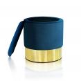 Pouf en velours bleu et doré