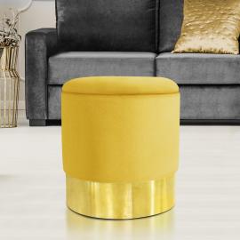 Pouf en velours jaune et doré