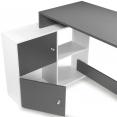 Bureau d'angle BOB bois blanc et gris