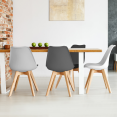 Lot de 4 chaises SARA gris foncé, gris clair, blanc et noir