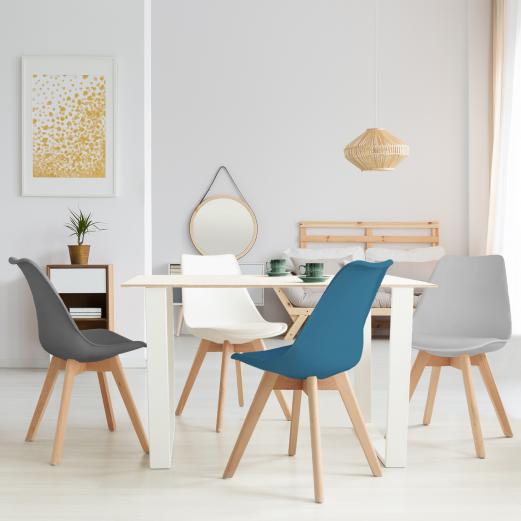 Lot de 4 chaises SARA gris foncé, gris clair, blanc et bleu
