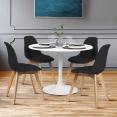 Lot de 4 chaises GABY noires en tissu pour salle à manger
