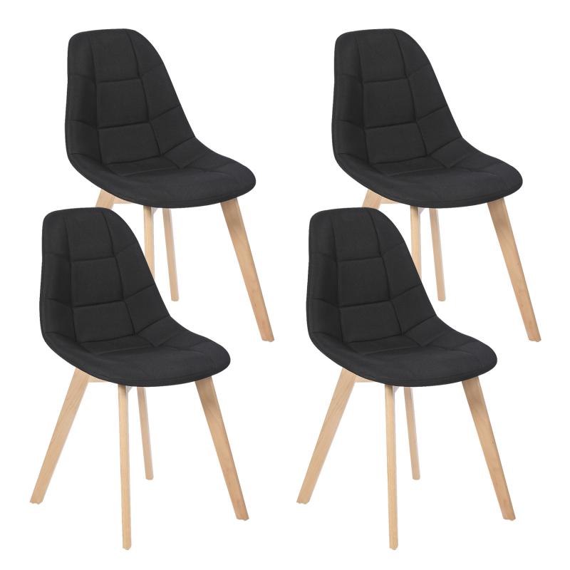 Tissus Pour Chaise Salle A Manger: Lot De 4 Chaises GABY Noires En Tissu Pour Salle à Manger