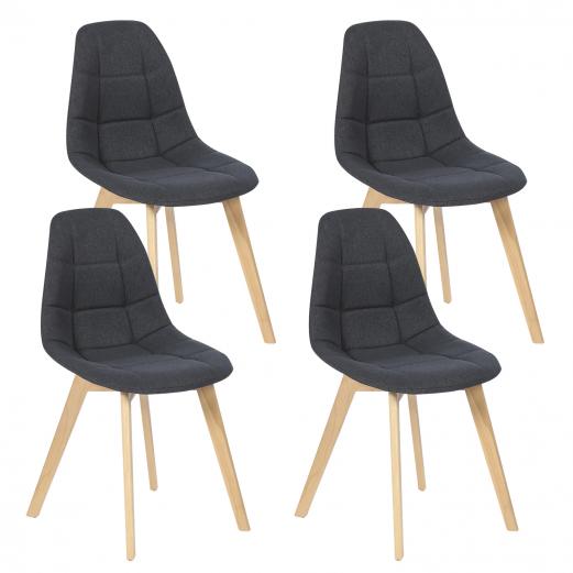 Lot de 4 chaises GABY grises en tissu pour salle à manger