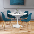 Lot de 4 chaises GABY bleues en tissu pour salle à manger
