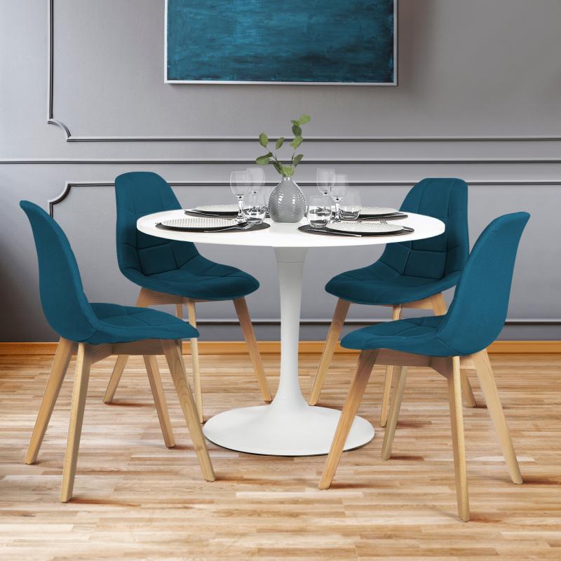 Chaises Scandinaves Bleu Canard Pour Salle A Manger Gaby Id Market