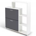 Meuble à chaussures blanc 2 portes grises avec étagère