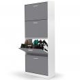 Meuble à chaussures blanc 4 portes grises (SANS FOND)