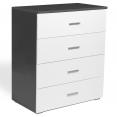 Commode 4 tiroirs bois blanc et gris Lola