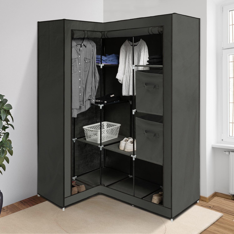 Armoire D Angle Dressing armoire de rangement d'angle grise dressing penderie xxl tissu id