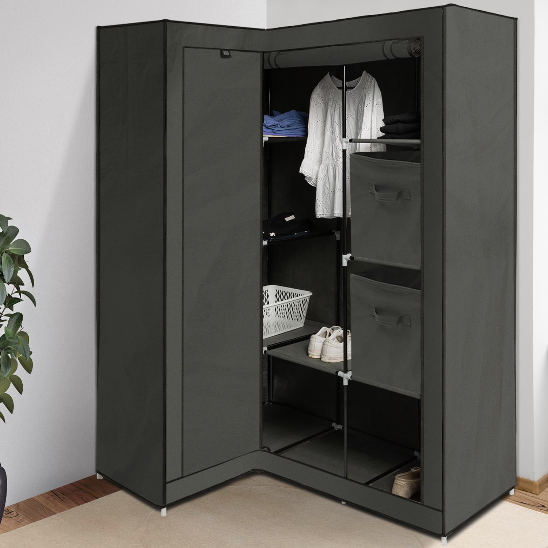 Profondeur Dressing Pour Cintre armoire de rangement d'angle grise dressing penderie xxl tissu id