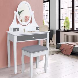 Coiffeuse table de maquillage en bois blanc et gris avec miroir et tabouret