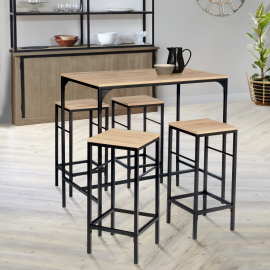 Table haute DETROIT et 4 tabourets design industriel