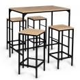 Table haute DETROIT et 4 tabourets design industriel
