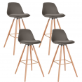 Lot de 4 tabourets de bar SARA taupe