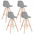 Lot de 4 tabourets de bar SARA gris clair