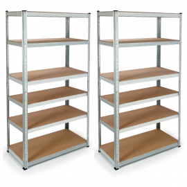 Lot de 2 étagères PRO modulables charges lourdes H. 180 CM 12 plateaux