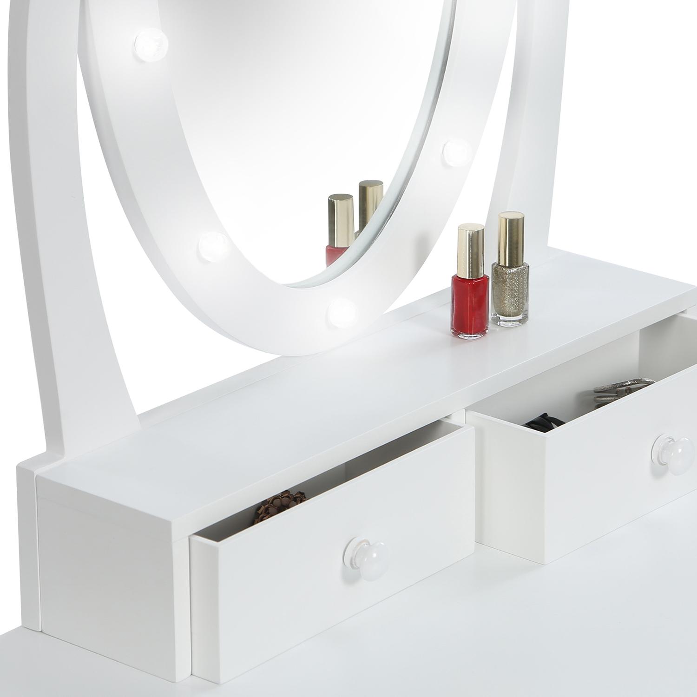Table De Chevet Miroir Pas Cher coiffeuse bella avec miroir led et tabouret idmarket