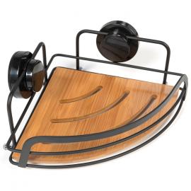 Etagère douche bambou bois et métal