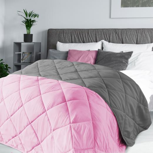 Couette 2 en 1 bicolore rose et gris 220x240 cm 170 gr