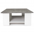 Table basse carrée ELI blanche plateau effet béton
