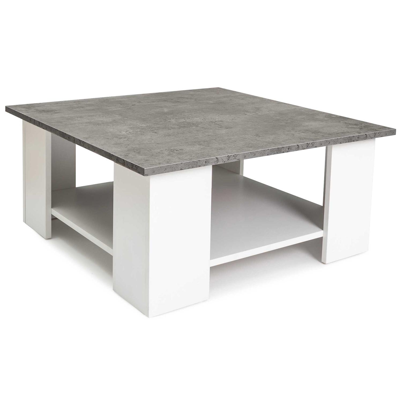 Table basse carrée ELI blanche plateau effet béton IDMarket
