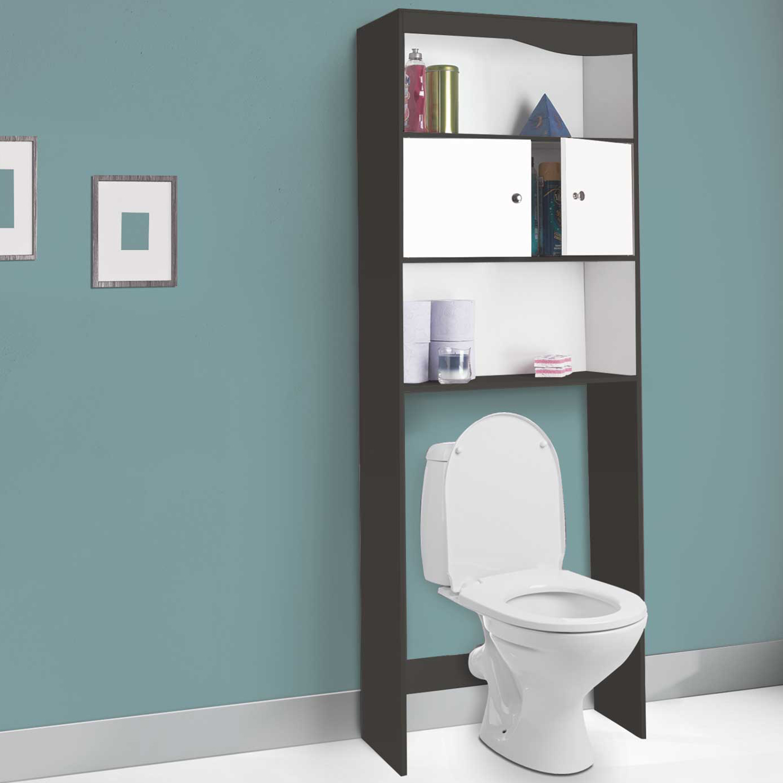Lave Main Sur Wc Existant meuble étagère dessus wc bois coloris gris portes blanches idmarket