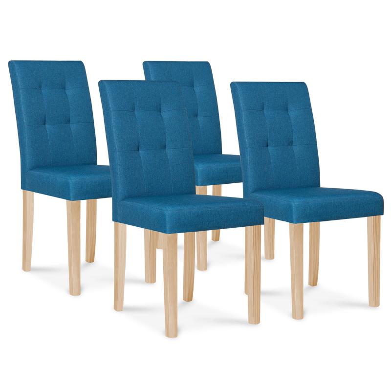 Lot de 4 chaises POLGA capitonnées bleu canard pour salle à manger
