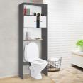 Meuble étagère dessus WC bois coloris gris portes blanches