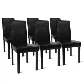 Lot de 6 chaises HANNAH noires pour salle à manger
