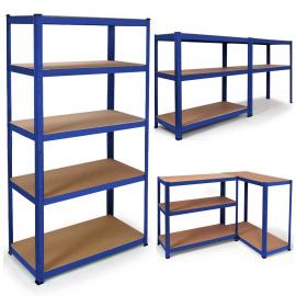 Étagère modulable charges lourdes en métal 5 plateaux bleue