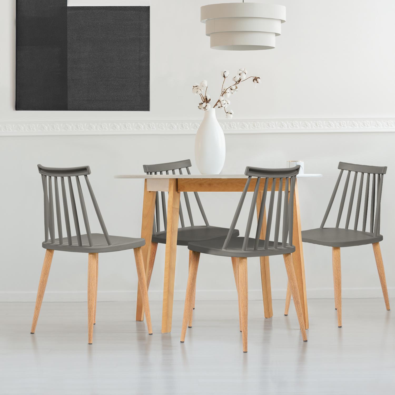 Lot de 4 chaises LILY gris foncé pour salle à manger IDMarket