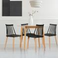 Lot de 4 chaises LILY noires pour salle à manger
