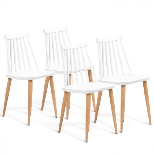 Lot de 4 chaises LILY blanches pour salle à manger