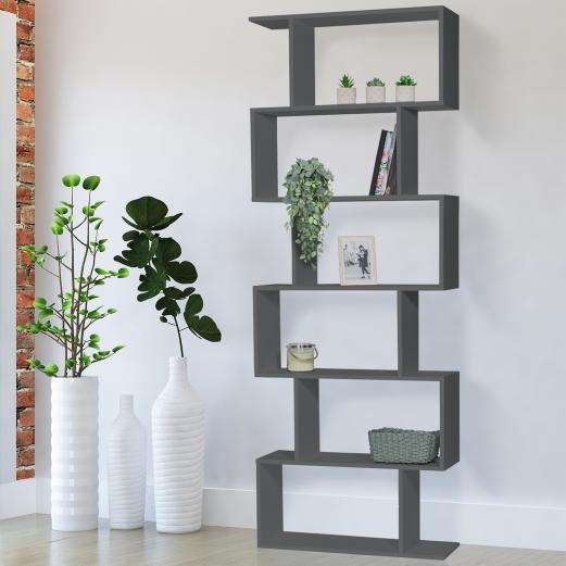 Etagère bibliothèque SOFIA forme S bois gris 190 cm