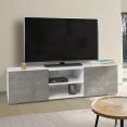Meuble TV ELI blanc portes effet béton