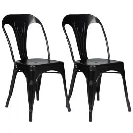 Lot de 2 chaises LENY en métal noir mat pour salle à manger