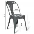 Lot de 2 chaises LENY en métal gris mat pour salle à manger