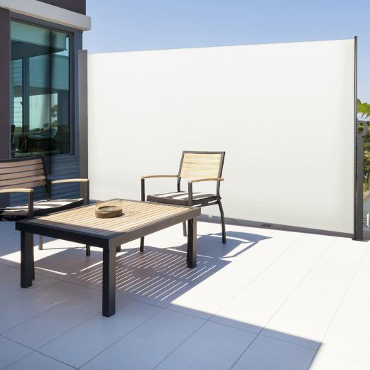 Paravent extérieur rétractable 300 x 160 cm blanc store latéral