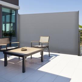 Paravent extérieur rétractable 300 x 180 cm gris clair store latéral