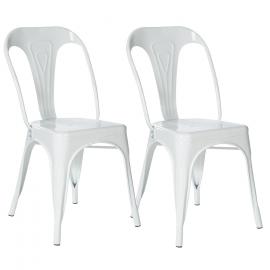 Lot de 2 chaises LENY en métal blanc brillant pour salle à manger