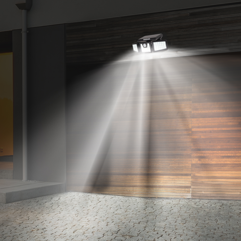 Eclairage Solaire Pour Tonnelle projecteur solaire 3 têtes 70 led détecteur de mouvement idmarket