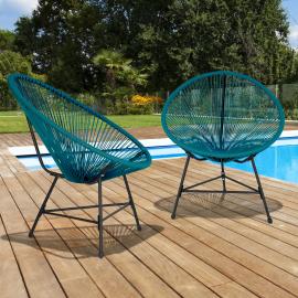 Lot de 2 fauteuils de jardin IZMIR bleus design oeuf cordage plastique