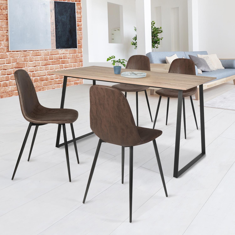 Lot de 7 chaises vintage DALI marron pour salle à manger IDMarket