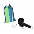 Hamac suspendu toile rayée bleue et verte avec kit de fixation inclus