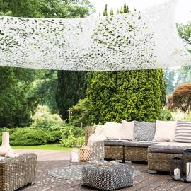 Voile d'ombrage rectangulaire design ombrière camouflage 3x4 m blanc